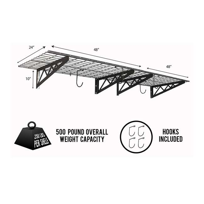 SR-WS1 24x48-H SafeRacks 24 x 48 Inch Garage Wall Shelf Two-Pack with Bike Tire Hooks, Gray 1