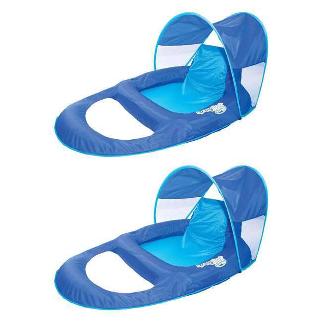 13022 SwimWays Spring Float Recliner with Canopy (2 Pack)