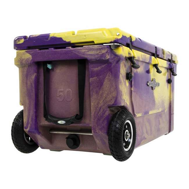 HC75-17PG WYLD 75 Quart Pioneer Dual Compartment Insulated Cooler w/ Wheels, Purple/Gold 3