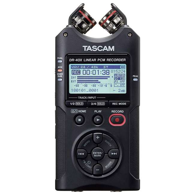 DR-40X + SD4-16GB-SAN + TH02-B Tascam 4-Track Digital Audio Recorder + Memory Card + Home & Studio Headphones 1