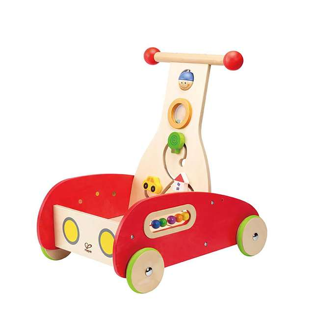 HAP-E0370-U-A Hape Toys Toddler Baby Push & Pull Toy Wonder Walker Cart with Wooden Blocks (Open Box)