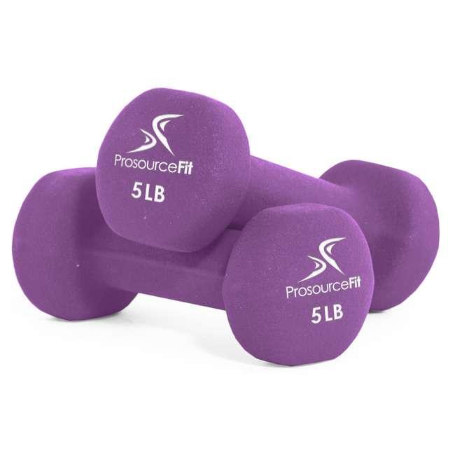 ps-1142-neo-purple ProsourceFit 5 Pound Iron Neoprene Coated Non Slip Dumbbell Weight Set, Purple
