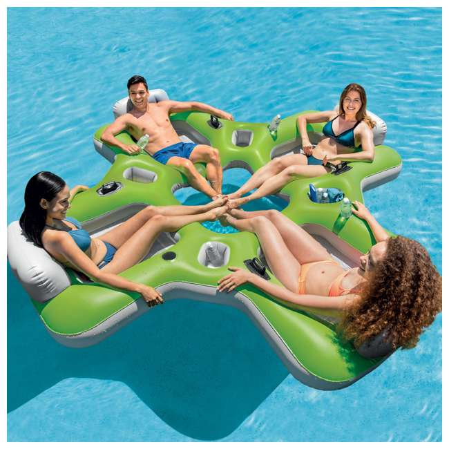 57283WL + 66639E Intex Lounge Island Inflatable 4 Seat Pool Float Raft + AC Electric Air Pump 3
