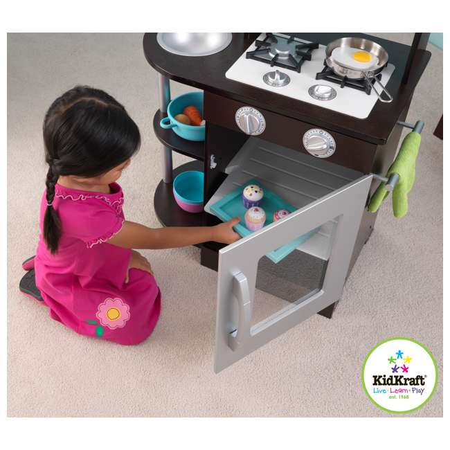 Kidkraft Modern Espresso Silver Toddler Kitchen Kids