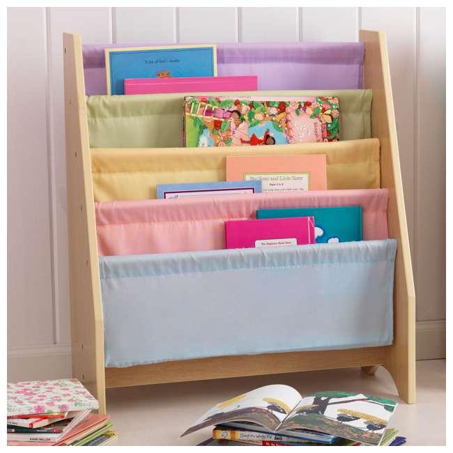 14225-U-D KidKraft Wood & Canvas Sling Shelf Kids Book Case Shelf - Pastel (Damaged)