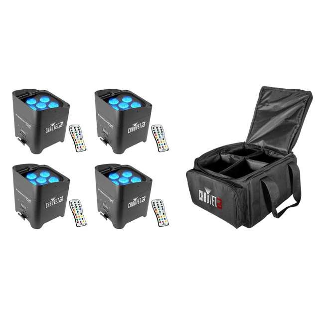 4 x FREEDOMPAR-TRI6 + CHSFR4 Chauvet DJ Freedom Par Tri-6 Light w/Remote (4 Pack) & Gear Bag