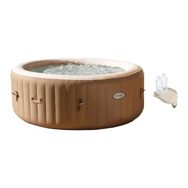 28403E + 28500E Intex Pure Spa Inflatable 4 Person Hot Tub with Cup Holder Tray