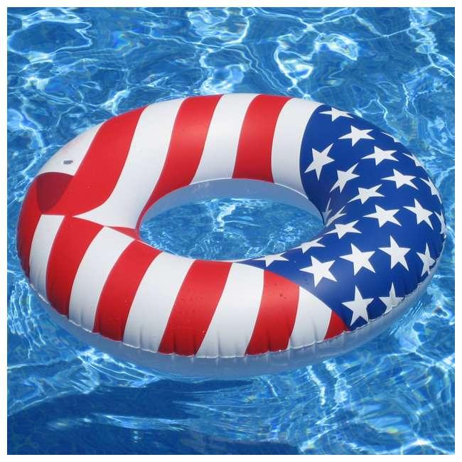 12 x 90196 Swimline 36 Inch Inflatable American Flag Swimming Pool Tube Float (12 Pack) 3