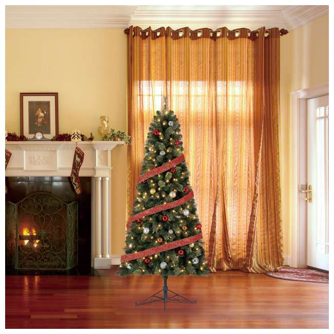 TG70M2AKML00 Home Heritage Cashmere 7 Foot Artificial Christmas Half Tree with LED Lights 2