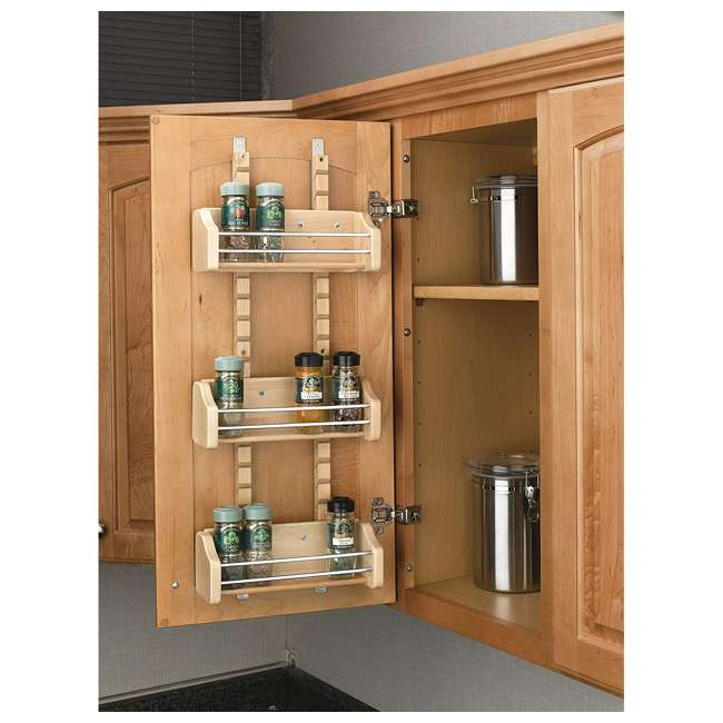 4ASR-15 Rev-A-Shelf 4ASR-15 Small Cabinet Door Mount Wood Adjustable 3-Shelf Spice Rack 1