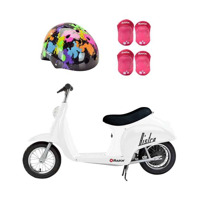 15130608 + 97913 + 96783 Razor Rechargeable Ride-on Scooter + Bicycle Helmet + Elbow & Knee Pad Set
