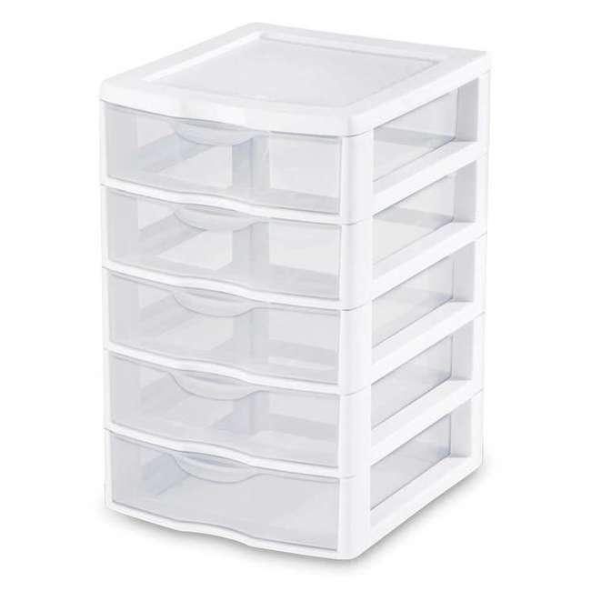 4 x 20758004-U-A Sterilite Clearview Small 5 Drawer Desktop Storage Unit White (Open Box)(4 Pack)