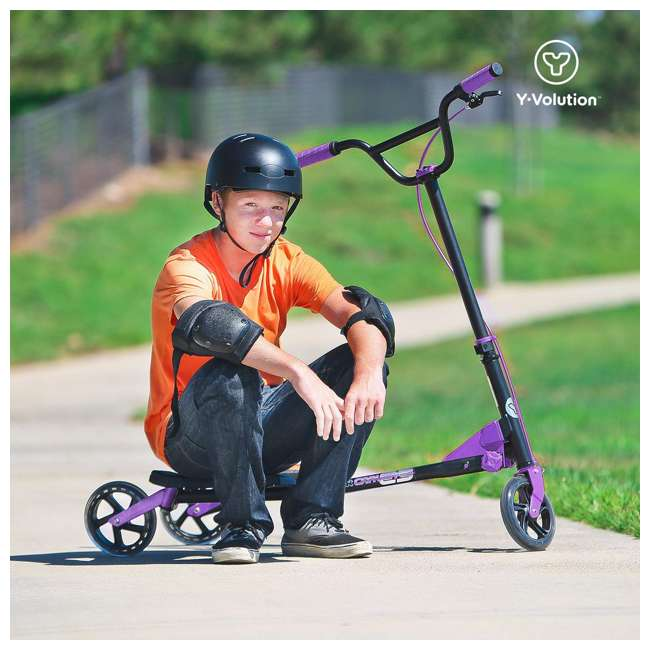 100607 Yvolution Y Fliker Carver C5 Kids/Adult Foldable Wiggle Drifting Scooter, Purple 5