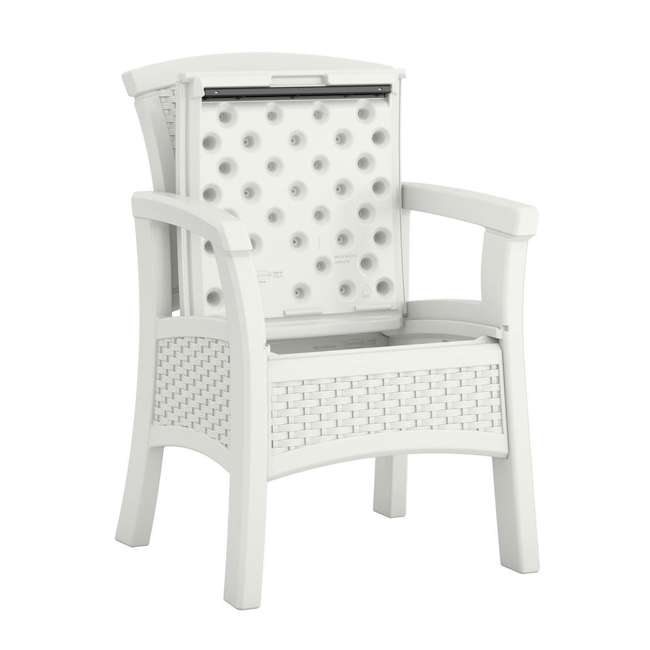 BMDC1400WD Suncast Elements Durable Outdoor Patio Dining Chair with Storage, White (2 Pack) 2