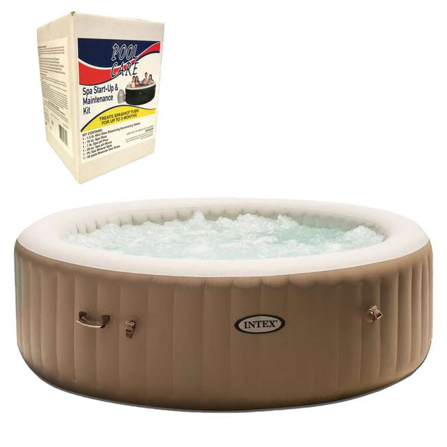 28407E + QLC-14890 Intex Inflatable Pure Spa & 3 Month Chemical Maintenance Kit