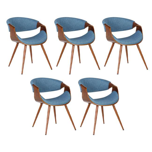5 x LCBUCHWABL Armen Living Blue Fabric and Walnut Wood Finish Mid Century Dining Side Chair (5 Pack)