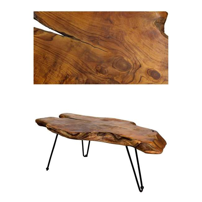 SC-IDW82658-U-D Natural Wood Edge Teak Coffee Cocktail Table with Clear Lacquer Finish (Damaged) 1
