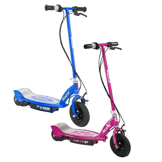13111240 + 13111263 Razor E100 Kids 24 Volt Electric Powered Ride On Scooter, Blue & Pink (2 Pack)