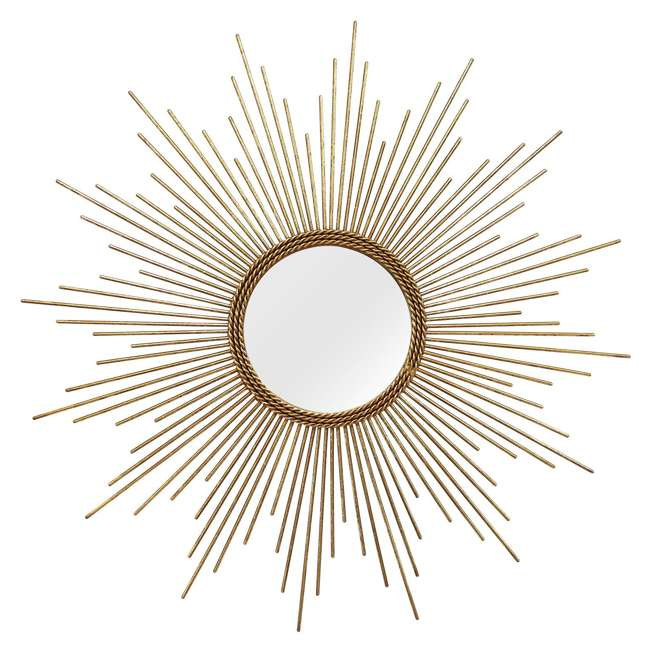 S01029 Stratton Home Decor S01029 Andrea Hand Painted Gold Metal Wall Mirror Decor Art