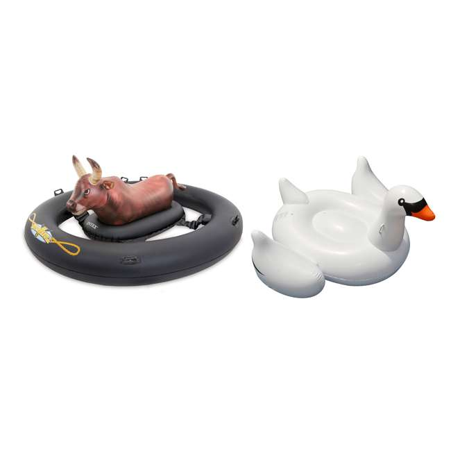 56285EP + 90621 Intex Inflatabull Inflatable Float Game & Giant Ride-On Swan