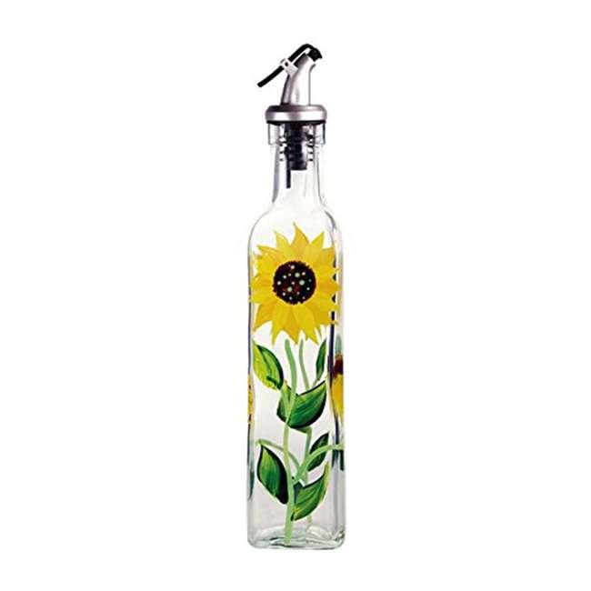 GH-39014 Grant Howard 39152 Hand Painted Sunflowers Glass Oil Vinegar Cruet Bottle, 16 Oz
