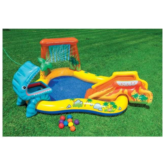 "57444EP + 57470EP Intex 8' x 6.25' x 43"" Dinosaur Play Center w/ 5' x 48"" Kids Swimming Pool 2"