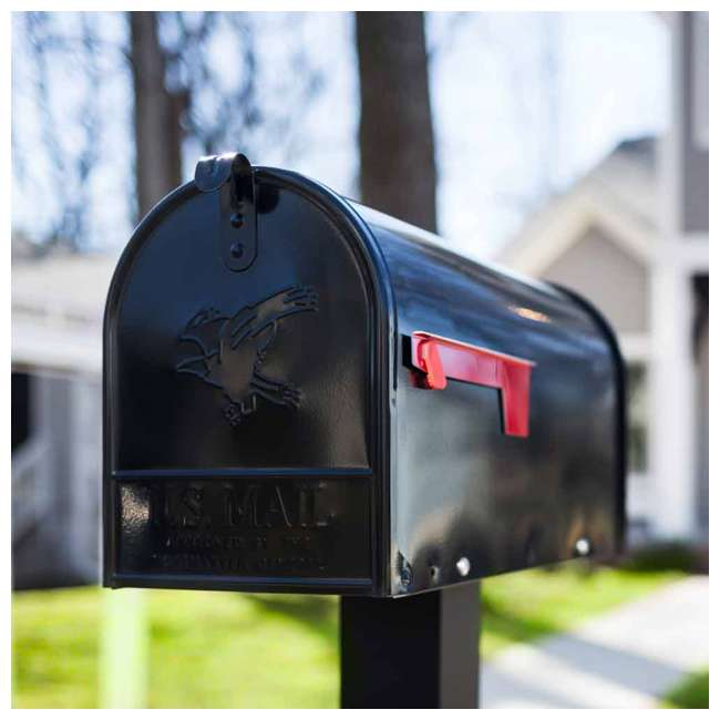 E1600B00-U-B Gibraltar Mailboxes Elite Steel Large Post Mount Mailbox, Black (Used) 3