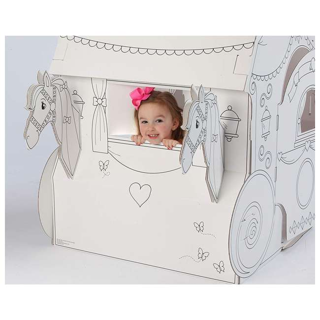 PC5536R My Very Own House Life-Size Coloring Playhouse Princess Carriage w/ 8 Markers 2