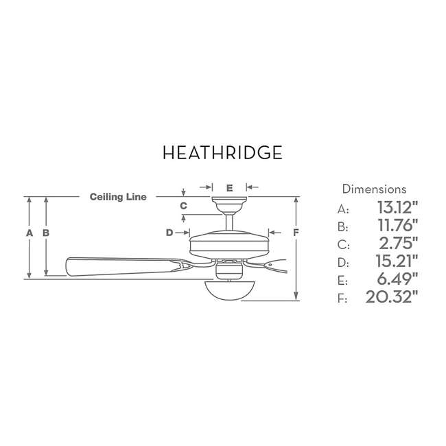 "55052 Casablanca 55052 Heathridge Tahoe 60"" Electric Indoor Wood Ceiling Fan & Remote 5"