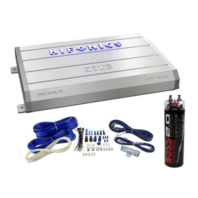 Hifonics ZRX1816 1D 1800W Class D Amplifier with Wiring Kit with Capacitor