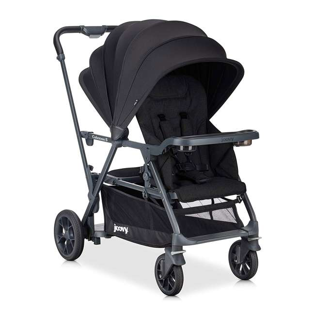 8207 + 9107 Joovy Caboose S Stroller with Canopy, Black Melange + Caboose Add On Rear Seat 1