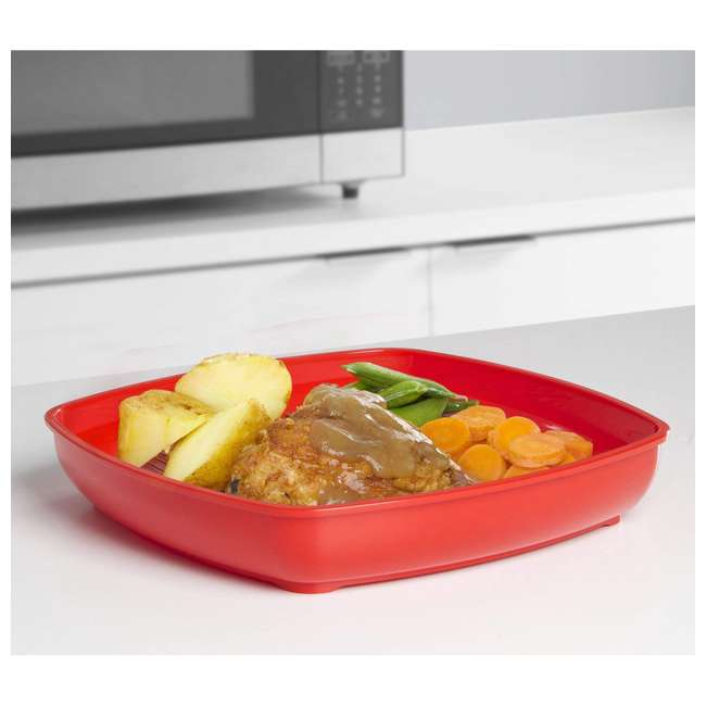 SISTEMA-1106ZS Sistema Large Microwave Collection Plate w/ Steaming Rack, Red 3