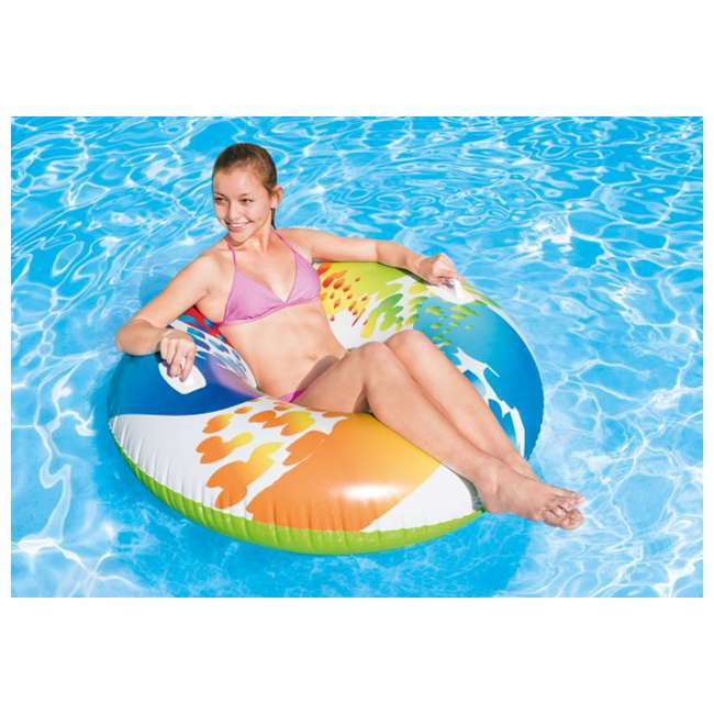 6 x 58202EP-U-A INTEX Inflatable Color Whirl Floating Tube Raft with Handles - Open box  (6 Pack) 1