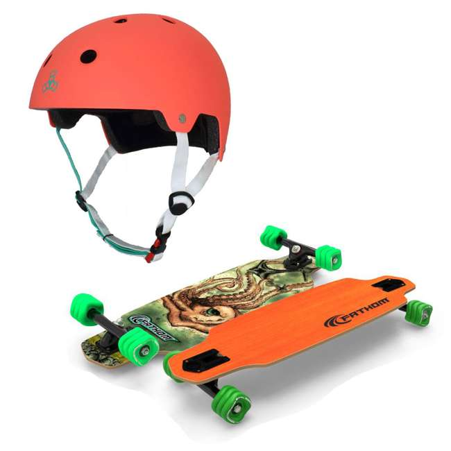 T8-3066 + 08149-SHARK Triple 8 Skate and Bike X-Small/Small Helmet, Neon Tangerine + Fathom Shark Wheel Skateboard