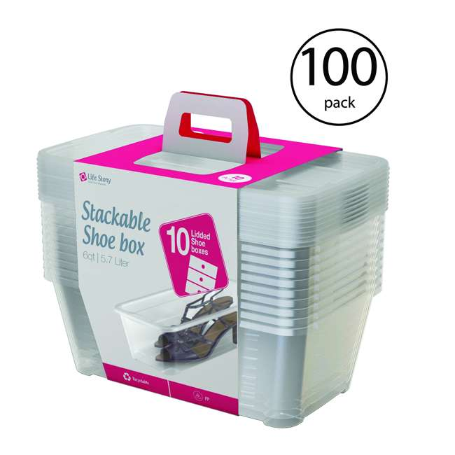 10 x SHB-10 Life Story 5.7-Liter Clear Shoe & Closet Storage Box Container (10 Pack)