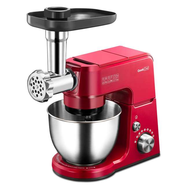 GM25S + GMMN + GMFP Geek Chef 2.6 Quart 7 Speed Stand Mixer with Mincer & Food Processor Attachments 2