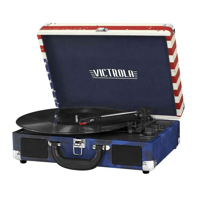 VSC-550BT-USA Victrola 3-Speed Bluetooth Suitcase Record Player, American Flag