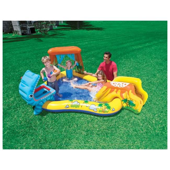 "57444EP + 57470EP Intex 8' x 6.25' x 43"" Dinosaur Play Center w/ 5' x 48"" Kids Swimming Pool 3"
