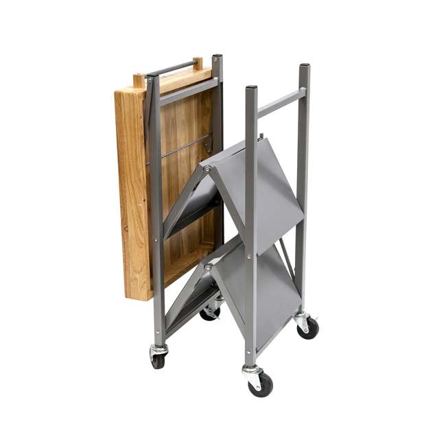 RBT-02 Origami Foldable Wheeled Kitchen Island Cart, Silver 3