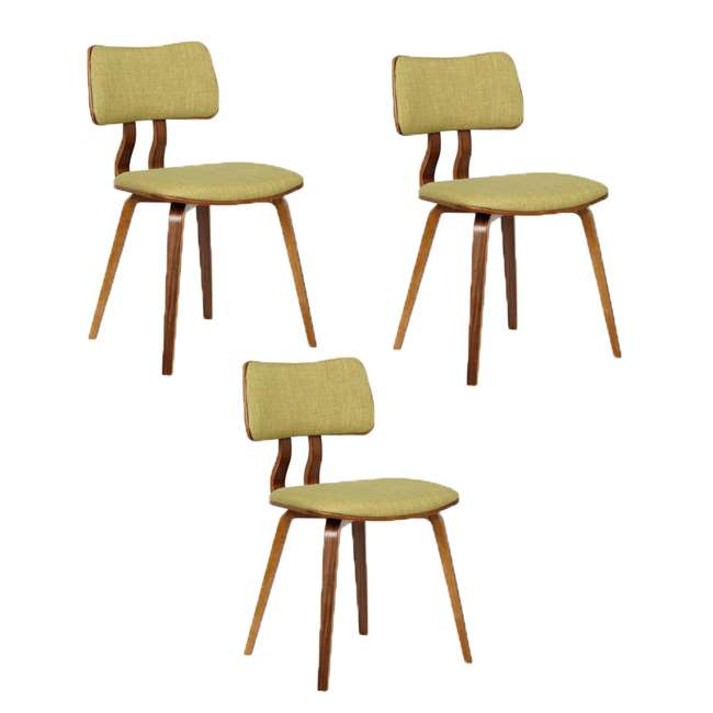 3 x LCJASIWAGREEN Armen Living Jaguar Mid Century Dining Chair in Walnut and Green Fabric (3 Pack)