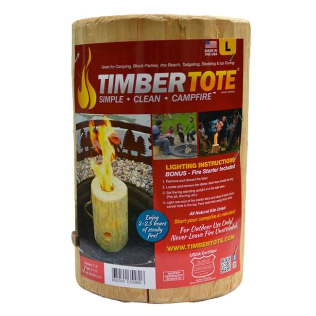 TBT-1002 TimberTote Large 12x8 Inch One Log Campfire Camping Cooking Camp Fire Wood Log