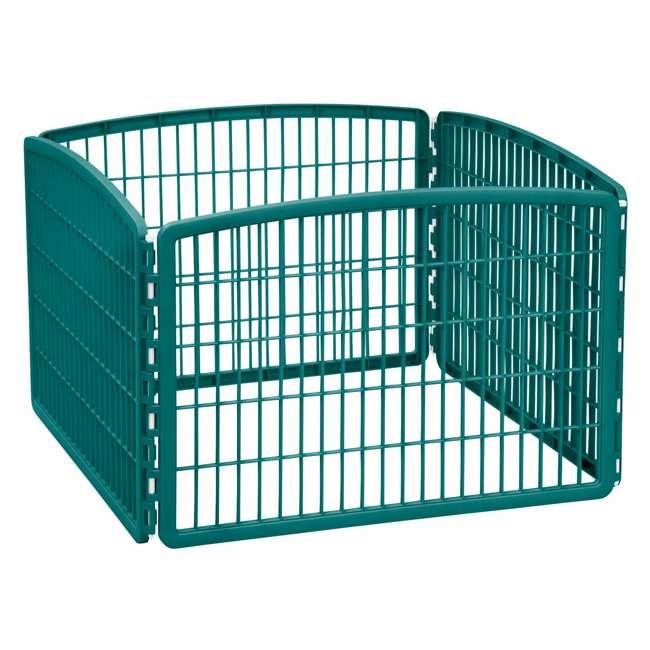 585600 IRIS USA 585600 4-Panel Plastic Indoor Outdoor Pet Playpen, Everglade Green