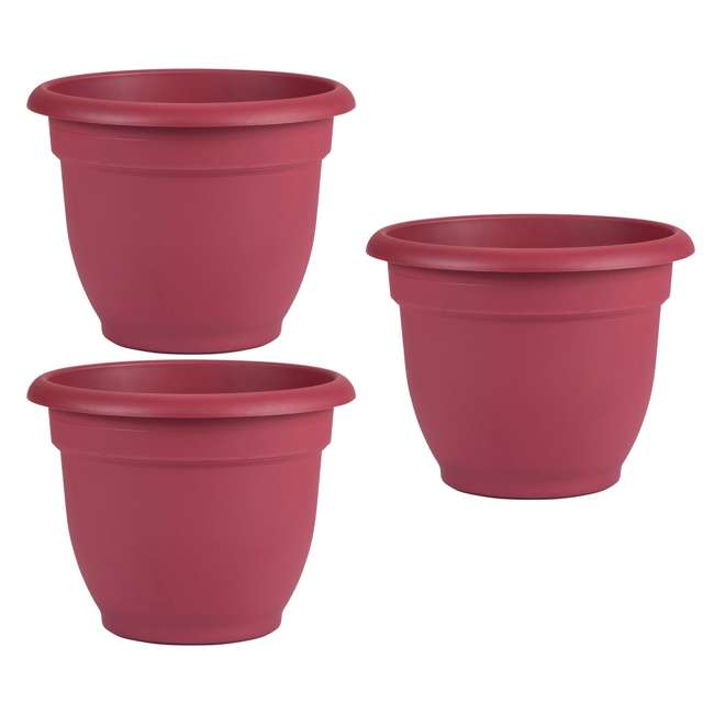 3 x AP0812 Bloem Ariana 8 Inch Self Watering Planter Indoor & Outdoor, Union Red (3 pack)
