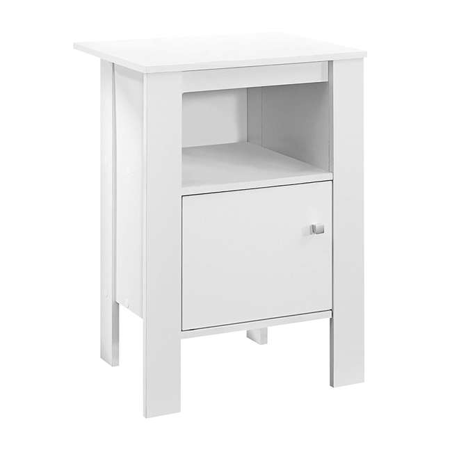 VM-2137-U-A Monarch Specialties Accent Table Night Stand with Drawer, White (Open Box)
