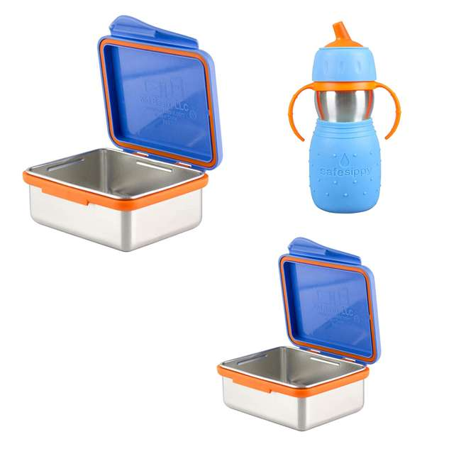 894148002794 + 894148002916 + 894148002350 Kid Basix 23 Ounce, 13 Ounce Stainless Steel Lunch Box and 11 Ounce Sippy Cup