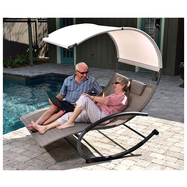 CHAISERK2-SA-U-B Vivere Double Seated Chaise Canopy Steel Rocking Patio Chair, Sienna (Used) 1