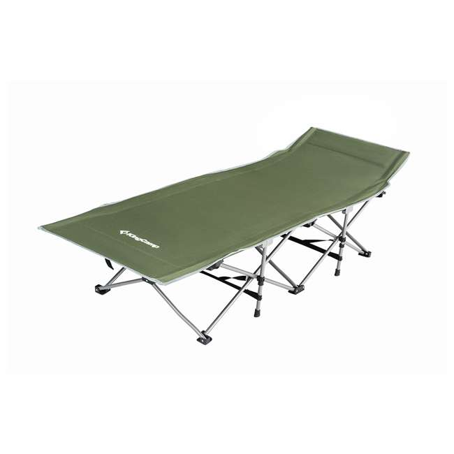KC800360040000 KingCamp Folding Deluxe Lightweight Portable Camping Bed Cot w/ Carry Bag, Green