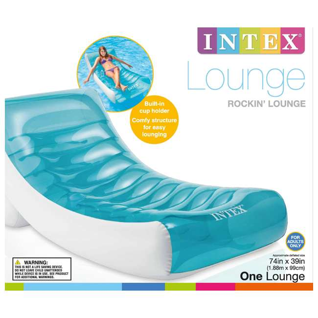 6 x 58856EP-U-A Intex  Inflatable Rockin' Lounge Pool w/ Cupholder | 58856EP (Open Box) (6 Pack) 2