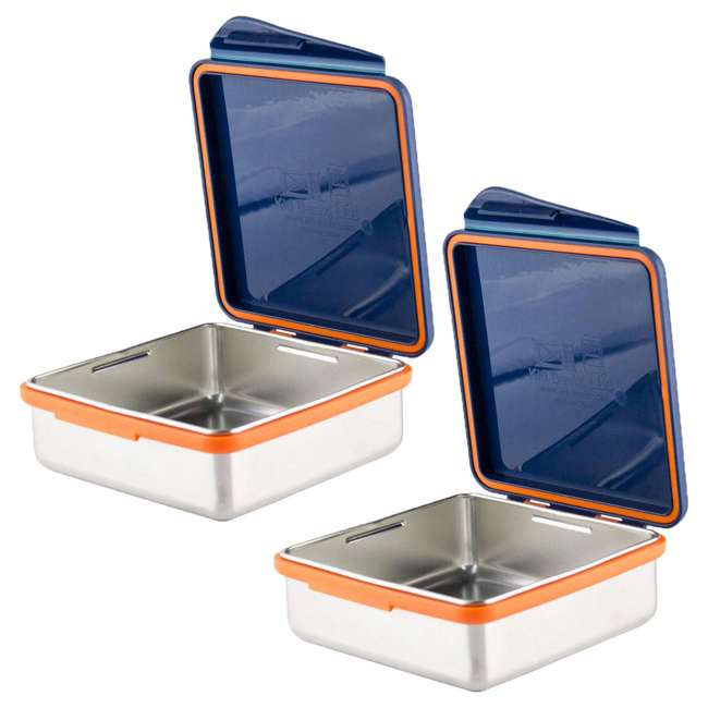 796515002881 Kid Basix 796515002881 Safe Snacker 23 Ounce Stainless Steel Lunch Box, Navy (2 Pack)