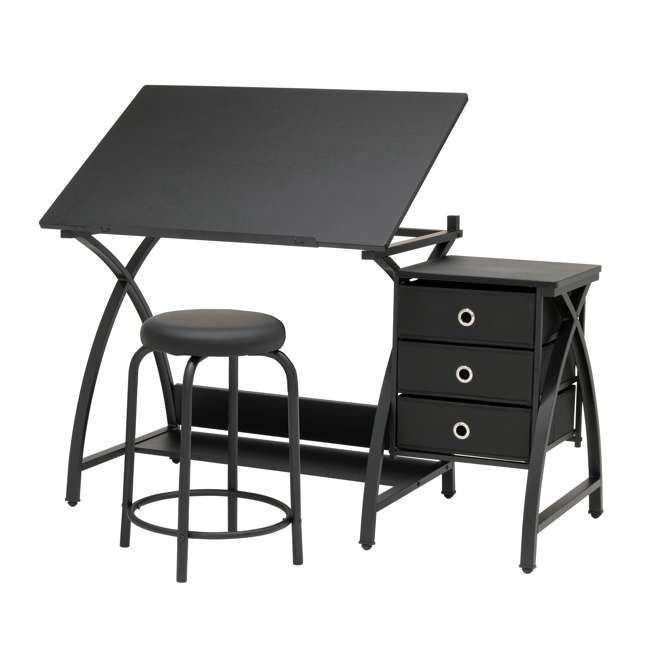 STDN-38015 Studio Designs Venus 2-Piece Craft Adjustable Tabletop w/ Storage & Stool, Black
